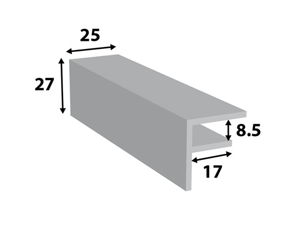 Alu. F-profiel 25*27*8,5