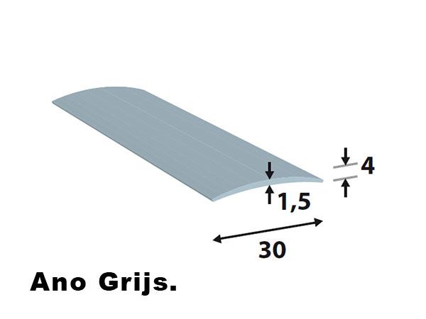Alu. afdeklijsten 30*4  L=2700 ano grijs zelf klevend