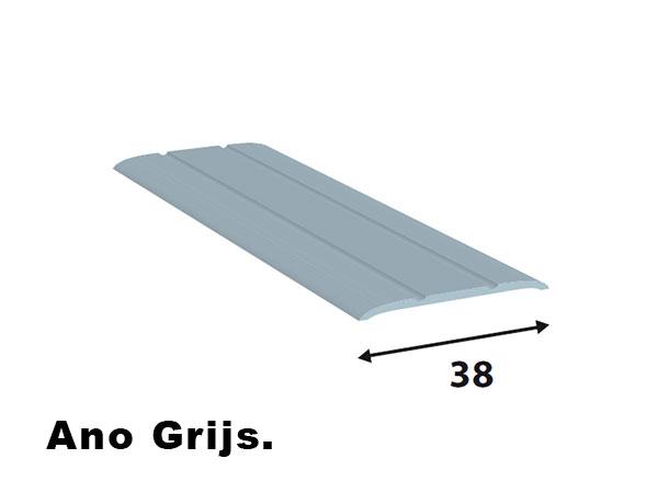 Alu. afdeklijsten 38*2  L=2700 ano grijs zelf klevend.