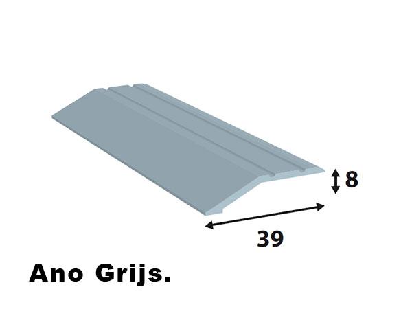Alu. afdeklijsten 39*8  L=2700 ano grijs zelf klevend.