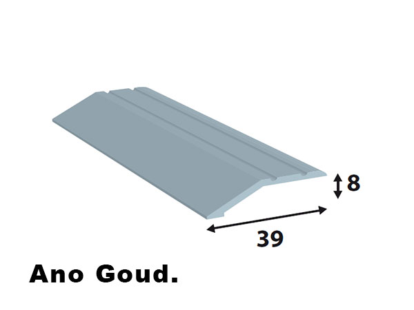 Alu. afdeklijsten 39*8  L=2700 ano goud zelf klevend.