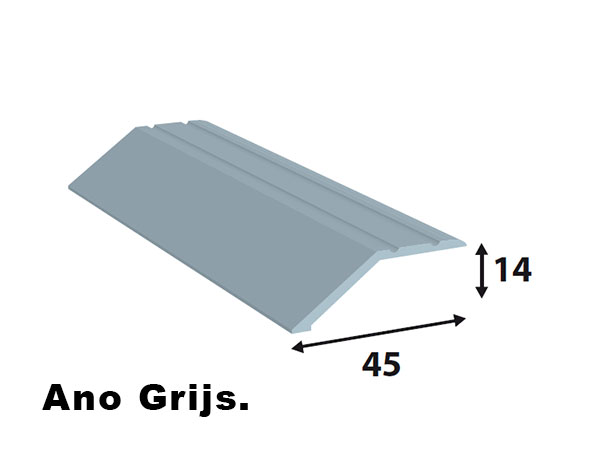 Alu afdeklijst 45*14 Ano grijs L= 2700 mm