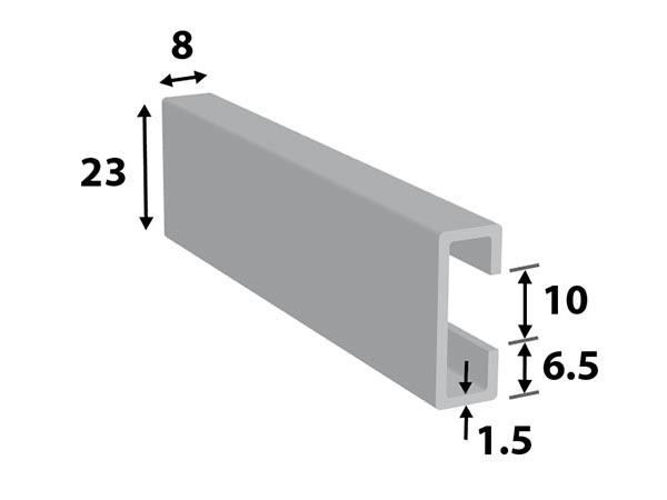 Alu. C-profiel 23*8*10*1.5