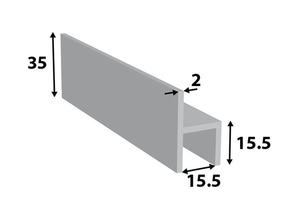 Alu. stoeltjes-profiel 35*15,5*15,5