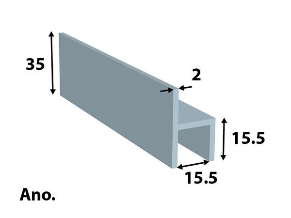 Alu. stoeltjes-profiel 35*15,5 ano