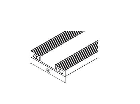 Serredak rubberonderlijst 60 mm