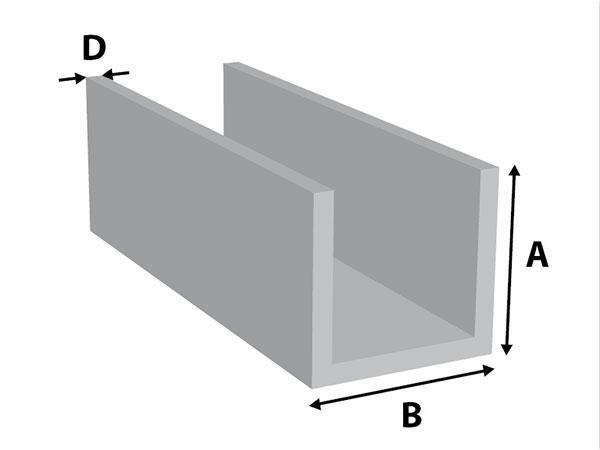 Aluminium U-profiel gelijkz.
